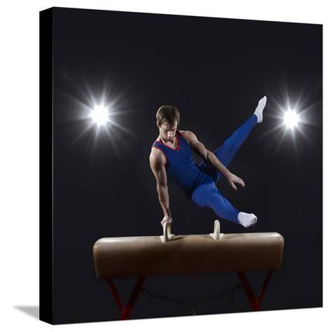Male Gymnast on Pommel Horse-Mike Harrington-Stretched Canvas Print