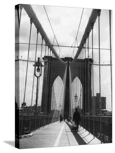 On Brooklyn Bridge-Peter Keegan-Stretched Canvas Print