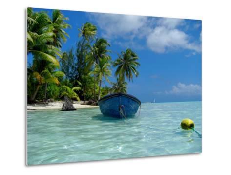 Blue Skiff Bora Bora Lagoon-Lawrence Da Luz Photography-Metal Print