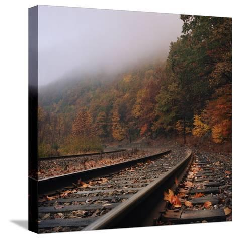 Train Tracks, Fall and Fog-Owen Luther-Stretched Canvas Print