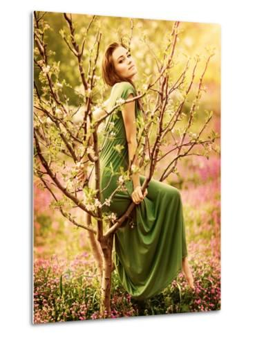 Fairy-Tail Forest Nymph, Beautiful Sexy Woman at Spring Garden, Wearing Long Dress, Sitting on Bloo-Anna Omelchenko-Metal Print