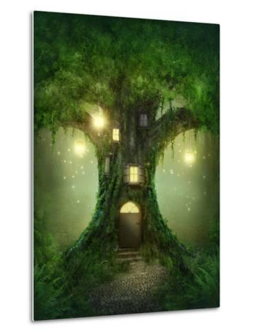 Fantasy Tree House in Forest-egal-Metal Print