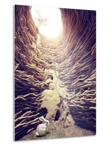 Rabbit and Chess in Deep Hole toward the Sunlight. Creative Concept-viczast-Metal Print