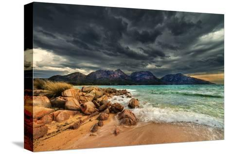 Storm Clouds over Mountains and Beach-Steve Daggar Photography-Stretched Canvas Print