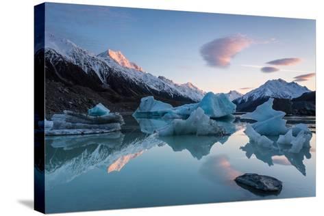 Sunrise at Tasman Glacier River-Yi Jiang Photography-Stretched Canvas Print