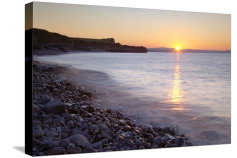 Sunset at Kilve Beach, Somerset.-Nick Cable-Stretched Canvas Print