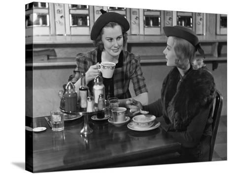 Two Women at Restaurant-George Marks-Stretched Canvas Print