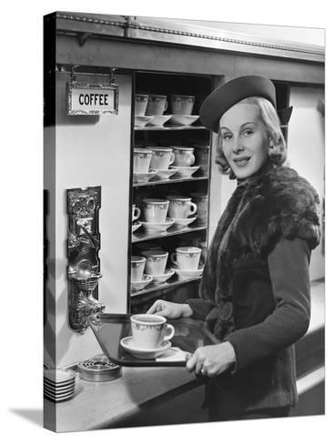 Woman W/Coffee on Tray-George Marks-Stretched Canvas Print