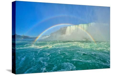 The Rainbow Bridge and Two Rainbows-www.35mmNegative.com-Stretched Canvas Print
