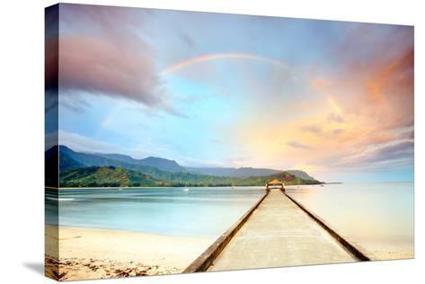Kauai Hanalei Pier-M Swiet Productions-Stretched Canvas Print