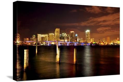 Miami Skyline at Night-Shobeir Ansari-Stretched Canvas Print