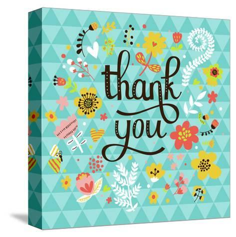 Thank You! Bright Cartoon Card Made of Flowers and Butterflies. Floral Background in Summer Colors-smilewithjul-Stretched Canvas Print