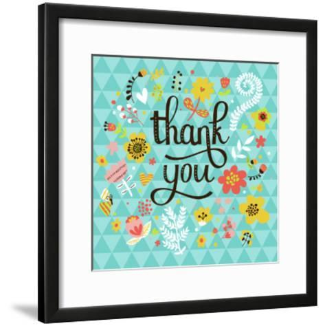 Thank You! Bright Cartoon Card Made of Flowers and Butterflies. Floral Background in Summer Colors-smilewithjul-Framed Art Print