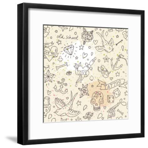 Tattoo Concept Seamless Pattern. Tattoo Elements: Skull, Knife, Bird, Heart, Anchor and Others in C-smilewithjul-Framed Art Print