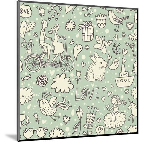 Romantic Vintage Seamless Pattern. Cute Cartoon Illustration in Vector. Rabbits, Couple of Lovers,-smilewithjul-Mounted Art Print