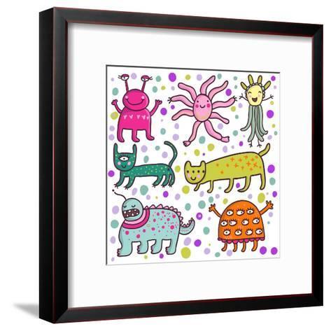 Cute Cartoon Monsters-smilewithjul-Framed Art Print