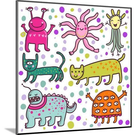Cute Cartoon Monsters-smilewithjul-Mounted Art Print