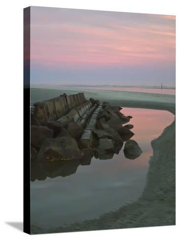 Rock Jetty at Dusk-Joseph Shields-Stretched Canvas Print