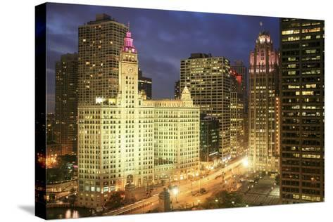 Michigan Avenue Wrigley Building at Night, Chicago-Hisham Ibrahim-Stretched Canvas Print