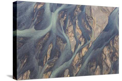 Aerial View of River Estuary Water, Iceland-Peter Adams-Stretched Canvas Print