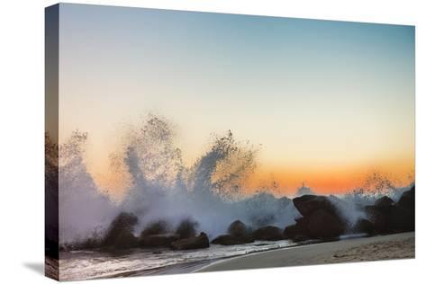 Waves Crashing on Rocky Beach at Sunset-Markus Henttonen-Stretched Canvas Print