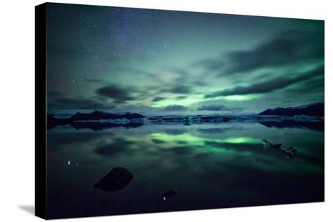 Northern Lights over Jokulsarlon-Matteo Colombo-Stretched Canvas Print
