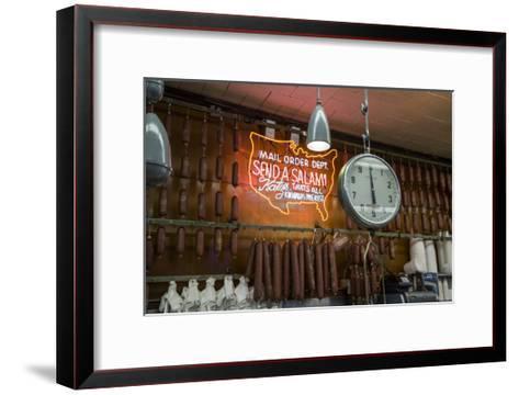 Katz's Deli Salamis with Scale (New York Landmark Eatery)-Henri Silberman-Framed Art Print
