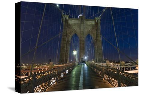 On Brooklyn Bridge Night 2 (Walkway, Arches)-Henri Silberman-Stretched Canvas Print