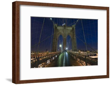 On Brooklyn Bridge Night 2 (Walkway, Arches)-Henri Silberman-Framed Art Print