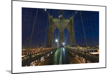 On Brooklyn Bridge Night 2 (Walkway, Arches)-Henri Silberman-Mounted Photographic Print