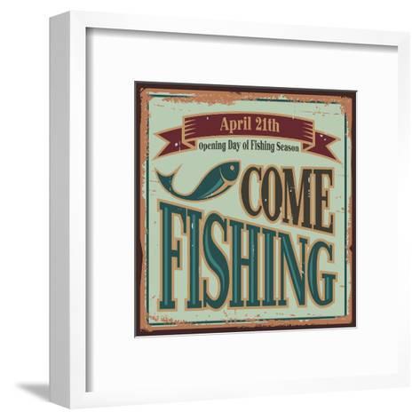 Vintage Fishing Metal Sign-Lukeruk-Framed Art Print