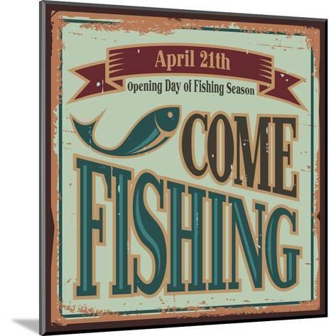 Vintage Fishing Metal Sign-Lukeruk-Mounted Art Print