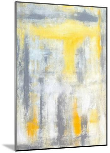 Grey and Yellow Abstract Art Painting-T30Gallery-Mounted Art Print