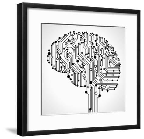 The Concept of Thinking. Background with Abstract Human Brain.-VLADGRIN-Framed Art Print