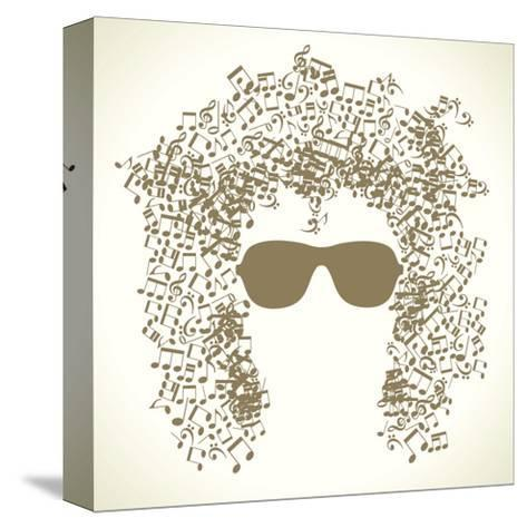 Human Face is Made up of Musical Notes. Concept of Music. Vector Illustration-VLADGRIN-Stretched Canvas Print