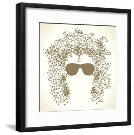 Human Face is Made up of Musical Notes. Concept of Music. Vector Illustration-VLADGRIN-Framed Art Print