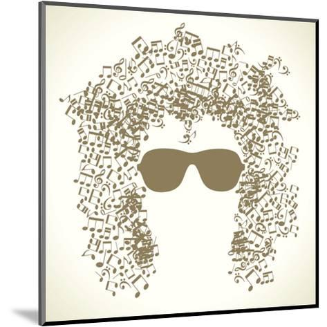 Human Face is Made up of Musical Notes. Concept of Music. Vector Illustration-VLADGRIN-Mounted Art Print