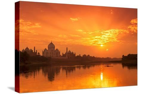 Taj Mahal and Yamuna River at Sunset-Adrian Pope-Stretched Canvas Print