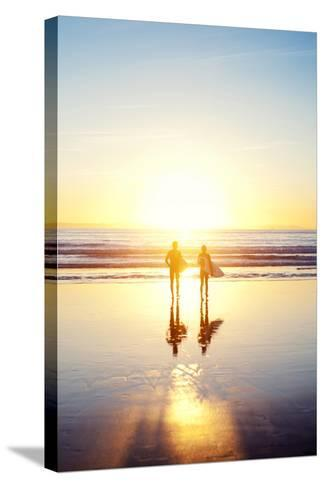 Sunsoaked Surf Silhouette--Stretched Canvas Print
