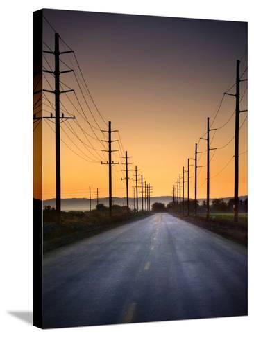 Road and Power Lines at Sunset-www.jodymillerphoto.com-Stretched Canvas Print
