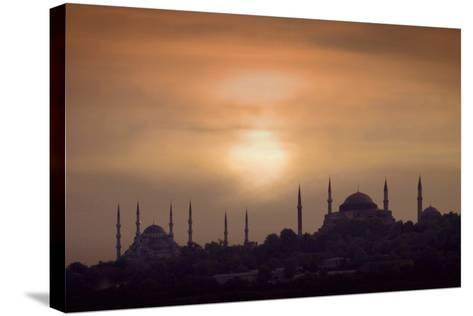 Turkey, Istanbul, Blue Mosque and Hagia Sophia, Sunset-Daryl Benson-Stretched Canvas Print