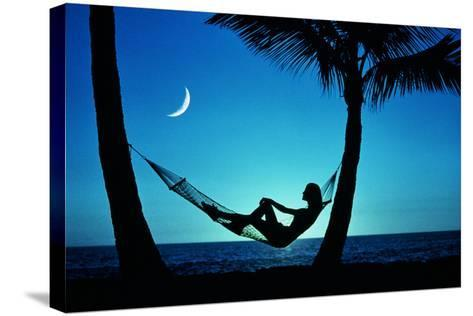 WOMAN IN HAMMOCK BY MOONLIT OCEAN-Kaz Mori-Stretched Canvas Print