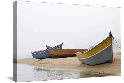 Boats on Beach, Moulay Bousselham, Kenitra Province, Morocco-Jean-Christophe Riou-Stretched Canvas Print
