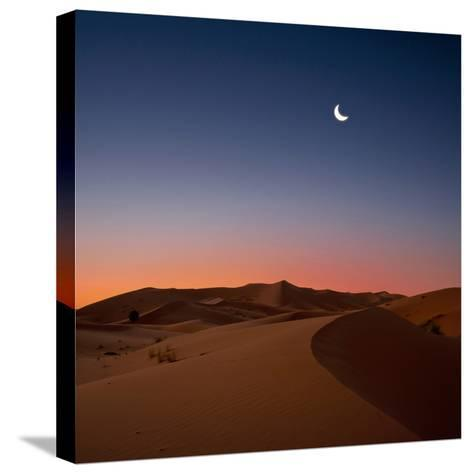 Crescent Moon over Dunes-Photo by John Quintero-Stretched Canvas Print
