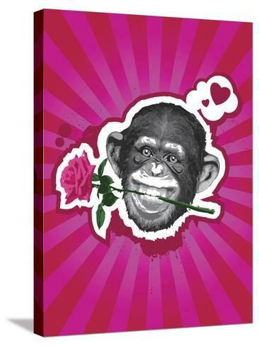 Chimpanzee with Rose in Mouth-New Vision Technologies Inc-Stretched Canvas Print