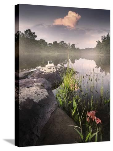 Foggy Sunset beside a Lake-Tyler Gray-Stretched Canvas Print