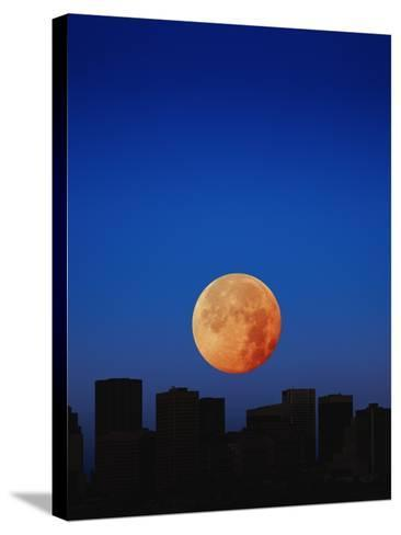 Orange Moon in Dark Sky-Design Pics/Kelly Redinger-Stretched Canvas Print