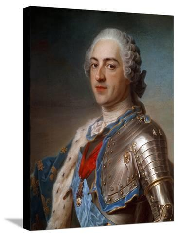 Portrait of Louis XV (1710-1774) in Armor - by Quentin Delatour--Stretched Canvas Print