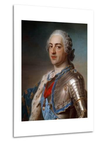 Portrait of Louis XV (1710-1774) in Armor - by Quentin Delatour--Metal Print
