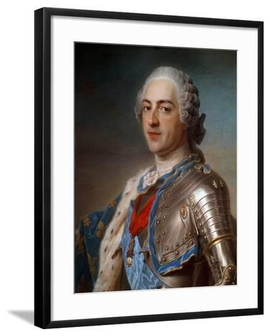 Portrait of Louis XV (1710-1774) in Armor - by Quentin Delatour--Framed Art Print